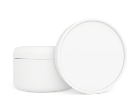 two white container with cream for face Stock Photo