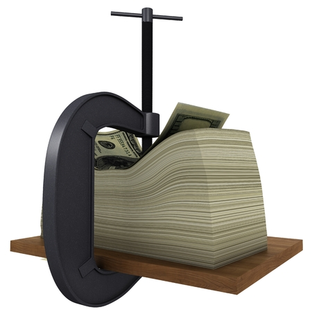 clamp presses the money to a wooden board Stock Photo - 23822544