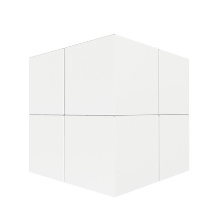 Empty white boxes assembled into a cube
