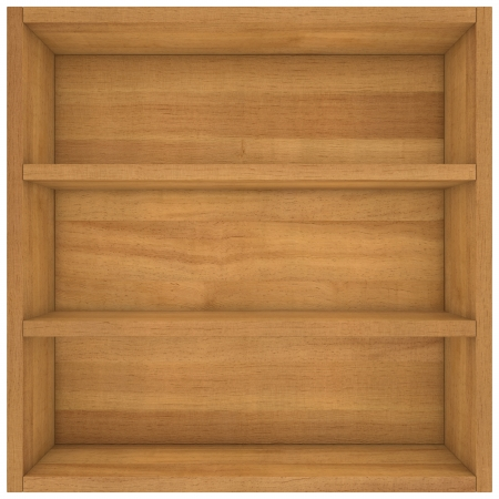 empty wooden box with shelves Stock Photo