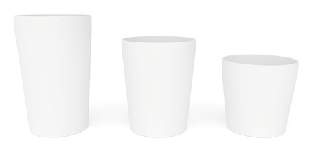polystyrene: Open paper cups ascending Stock Photo