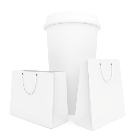 cup of coffee and paper bags Stock Photo