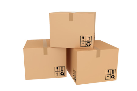 Several closed cardboard boxes Stock Photo