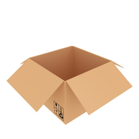fully open cardboard box