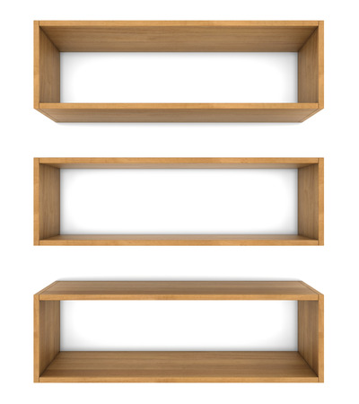 empty wooden shelf isolated on white background