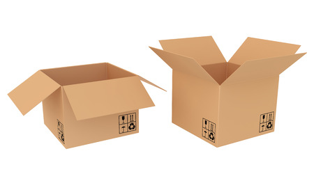 two varieties of open cardboard boxes Stock Photo