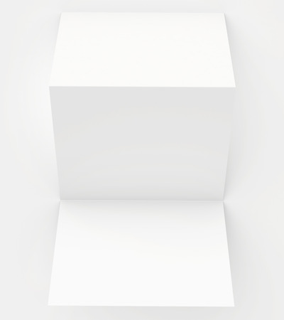 blank white paper folded twice Stock Photo