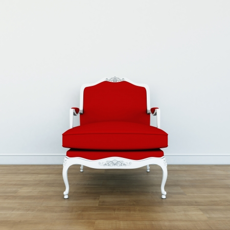 Traditional chairs with red upholstery Stock Photo