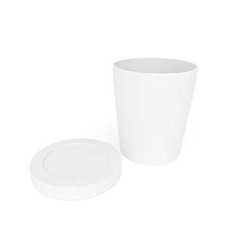 white paper cup and lid close behind photo