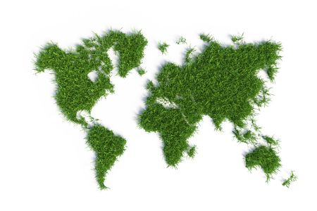 ecological map of the world in green grass isolated on white background photo