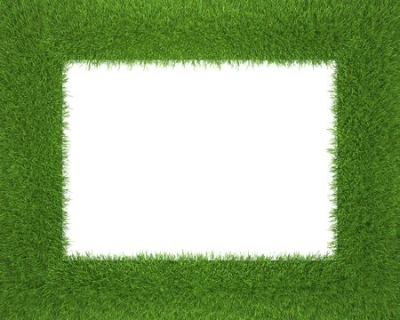 frame made of grass isolated on white background Stock Photo