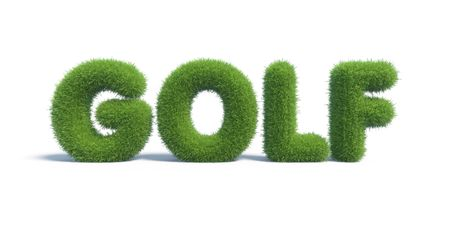golf of the inscription of green grass in the form of a text