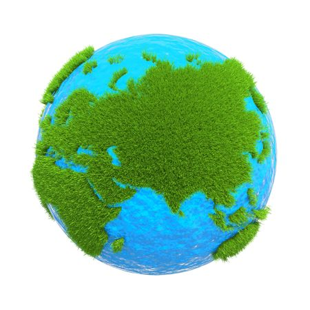 earth located on it with the mainland from the green grass isolated on white background