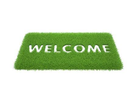 afdrukken van de woorden zijn van harte welkom op de mat van groen gras