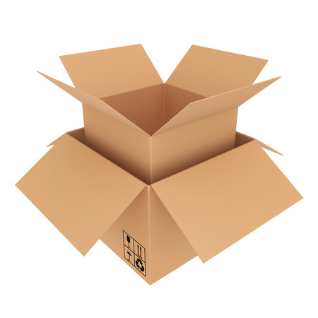 carboard box: Open carboard box in a box Stock Photo