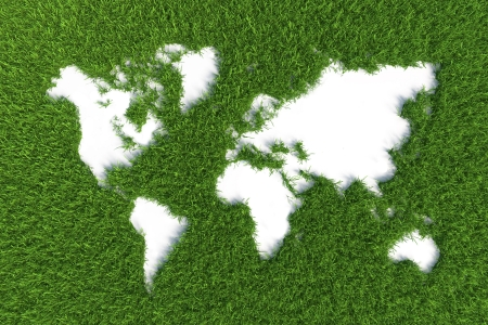 map of the world on grass isolated on green background
