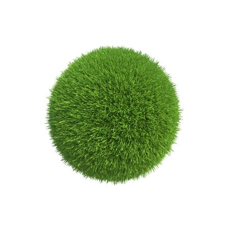 A ball of green grass symbolizes the conservation of energy on the planet