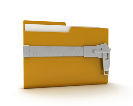 3d illustration of folder icon with zip, over white background illustration