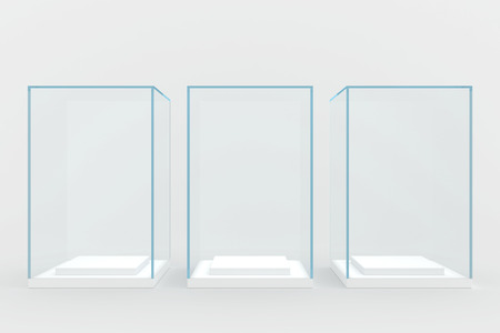 three glass windows covered with glass  isolated on gray  photo