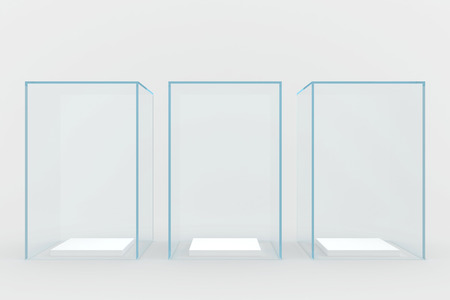 glass showcases  3d render  isolated on gray   Stock Photo - 25671401