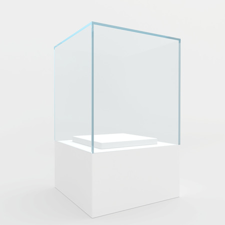 boutique display: display case  3d render  isolated on gray