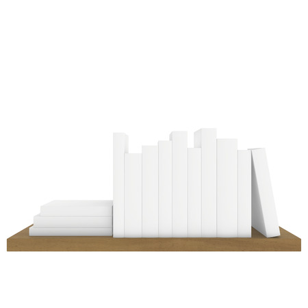 wooden shelf with white books isolated on white