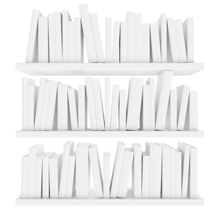 three shelves: three shelves with books isolated on white