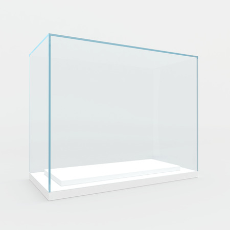 Empty glass showcase  3d render  isolated on gray   photo