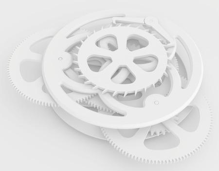 sharp teeth gears the clock mechanism  3d render