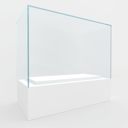 Rectangular glass showcase of bluish glass  3d render  photo