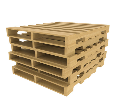 Wooden pallet  Isolated on white background  realistic wood