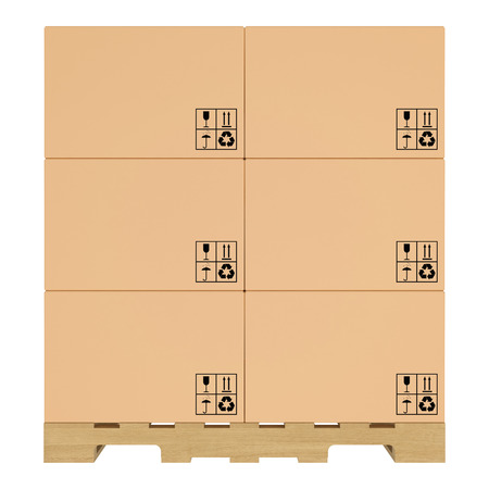 Cardboard boxes on pallet  Isolated on white background