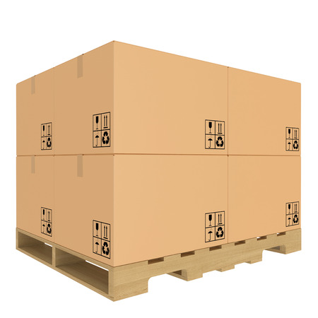 boxboard: Cardboard boxes on pallet  Isolated on white background