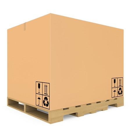 パレット分離された白い背景の上に段ボール箱 写真素材