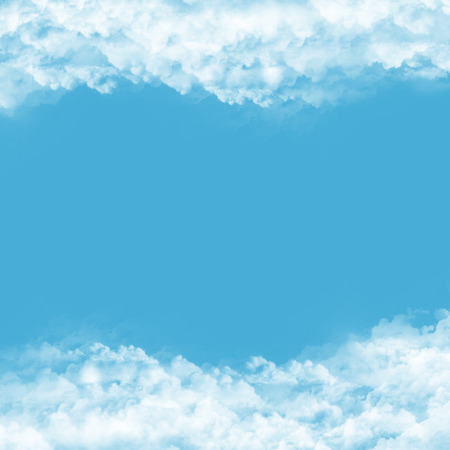 frame from clouds on blue background   Stock Photo