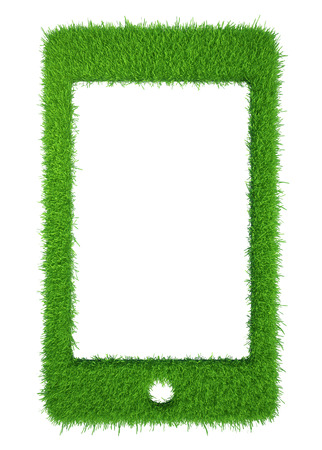 tablet green grass colorful background  tablet computer isolated