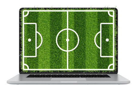 Modern laptop illustration with a computer device and football lawn grass