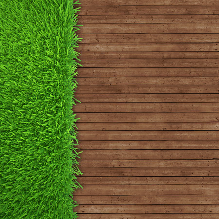 green grass over wood background  realistic 3d render