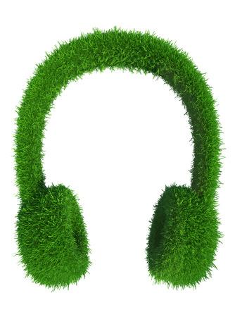 green grass headphones  fresh music  isolated on white background Stock Photo