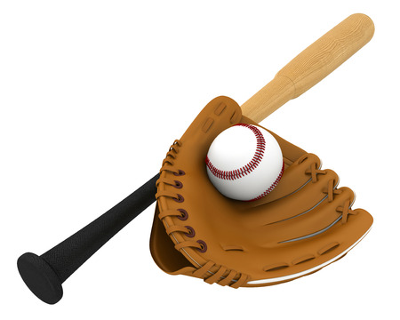 new baseball glove and wooden baseball bat  photo