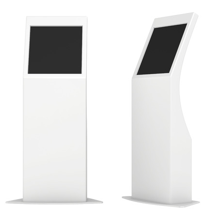 information kiosk  Information terminal  interactive kiosk on white background Imagens