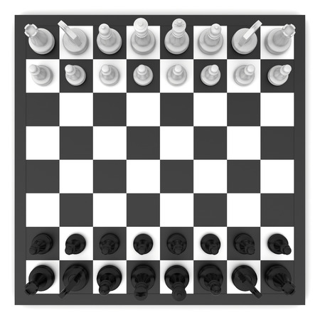 チェスボードとチェスの駒のトップ ビュー