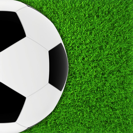 soccer ball on green grass  realistic lawn football field  close up photo
