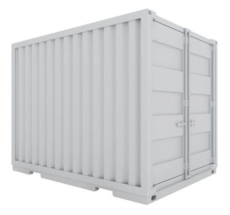 white freight container isolated on white background