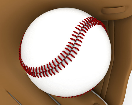 guante beisbol: guante de b�isbol pelota de cerca con costuras de color rojo