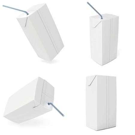 set white carton milk or juice  3d render  photo