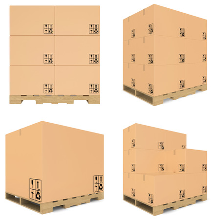 carboard box: set carboard box  carboard open and closed
