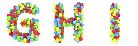 3D cube alphabet colorful font style  Stock Photo