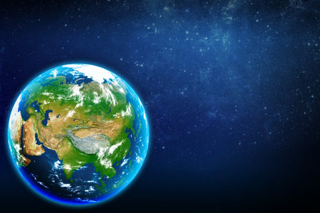 Planet earth in space  Eurasian continent  Stock Photo