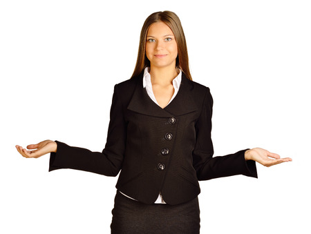 Business woman making a scale with her arms wide open, isolated in a white background